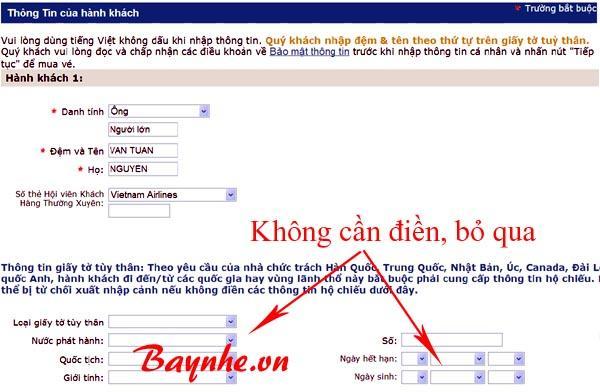 đặt vé máy bay vietnam airlines