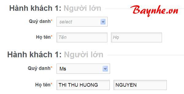 cách viết tên khi đặt vé máy bay qua mạng