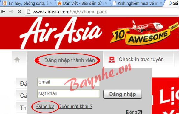 Đặt vé AirAsia nhanh hơn bằng cách đăng ký thành viên