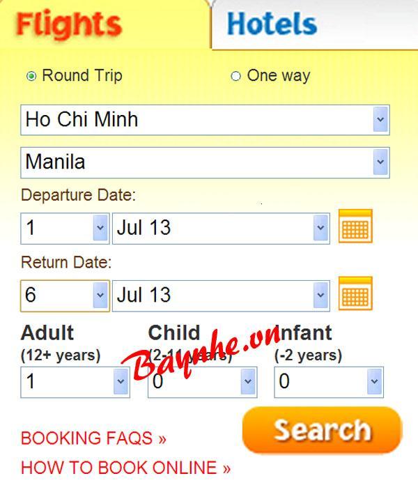 Hướng dẫn đặt vé máy bay Cebu Pacific