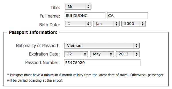điền hộ chiếu mua vé máy bay giá rẻ