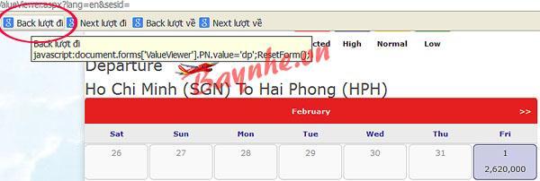đặt vé máy bay giá rẻ vietjetair thêm nút Back vào trang giá vé VietJetAir