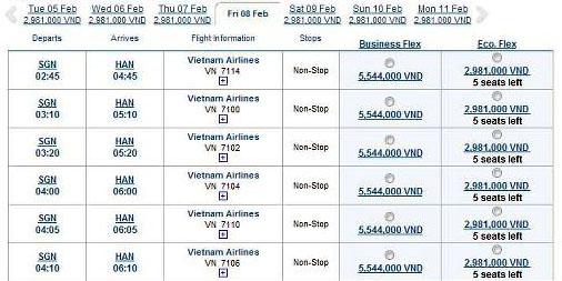 vé máy bay tết 2013 vietnam airlines