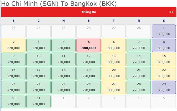 Vé máy bay Sài Gòn – Bangkok giá 220.000 đồng