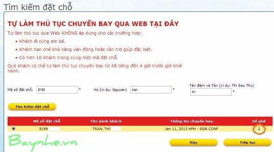 thủ tục check-in trực tuyến
