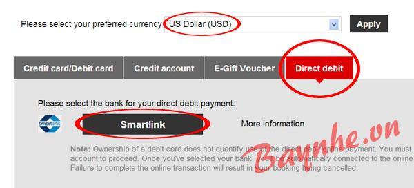 Thanh toán vé máy bay giá rẻ bằng Smartlink Hướng dẫn thanh toán vé AirAsia bằng Smartlink