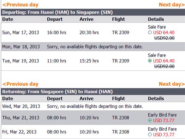 vé máy bay giá rẻ Tiger - vé rẻ đi Singapore