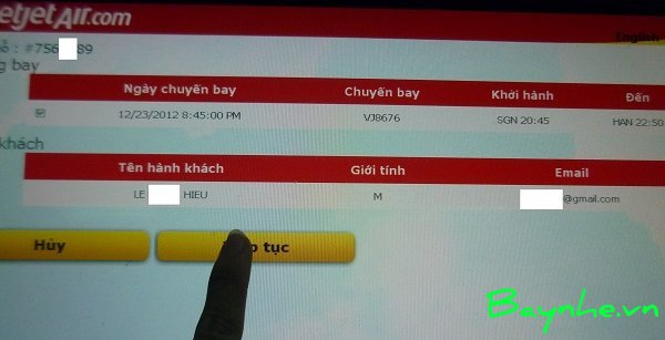Hướng dẫn check-in tự động tại kiosk của VietJetAir