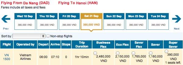 vé máy bay 390.000 đồng vietnam airlines