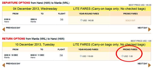 vé máy bay giá rẻ 1 USD của Cebu Pacific
