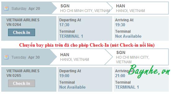 Hướng dẫn check-in trực tuyến Vietnam Airlines