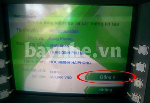 Thanh toán vé máy bay Vietnam Airlines qua cây ATM
