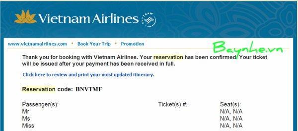 Hướng dẫn kiểm tra vé máy bay Vietnam Airlines