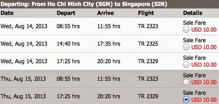 vé máy bay Sài Gòn - Singapore của Tiger