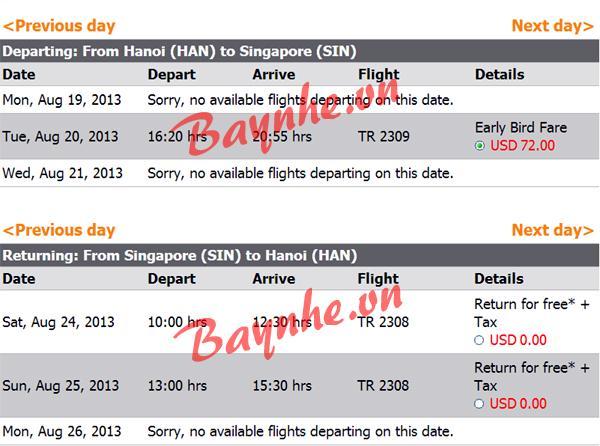 Tiger Airways miễn phí vé máy bay giá rẻ - vé máy bay giá rẻ chiều về