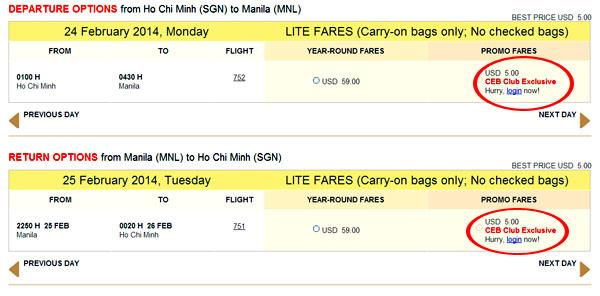vé máy bay 5 usd của cebu pacific