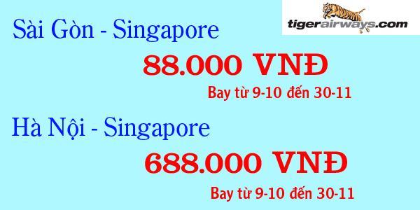 tiger airways bán vé máy bay 88.000 đồng