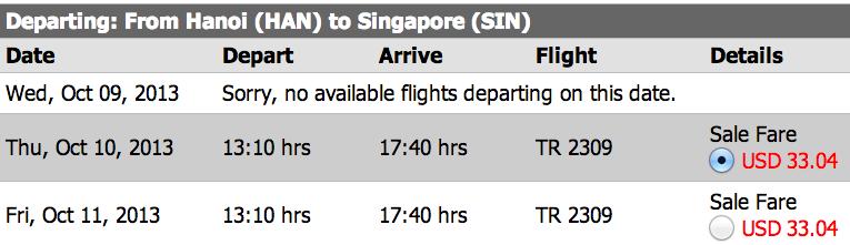 vé máy bay giá rẻ tiger airways - Hà Nội bay Malaysia