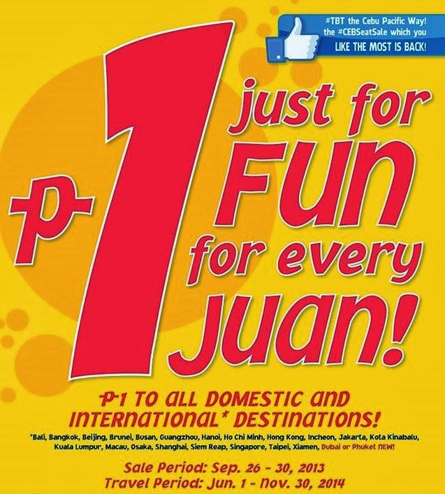 Cebu đang khuyến mãi vé siêu rẻ 1 Peso