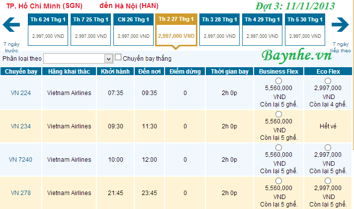 Vietnam Airlines bán vé máy bay tết 2014 (update: Đang có)