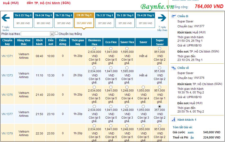 Từ 8-10, VNA bán vé máy bay ngược chiều tết 2014