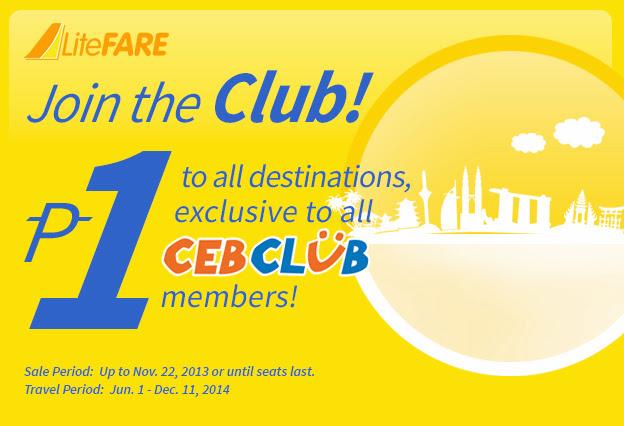 Cebu khuyến mãi vé siêu rẻ 1 Peso cho thành viên