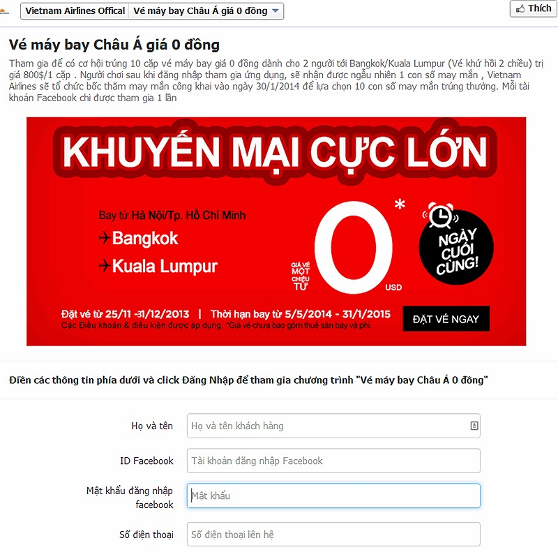 lừa đảo vietnam airlines vé máy bay giá rẻ