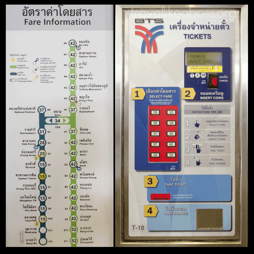mua vé tàu điện BTS ở thủ đô Bangkok