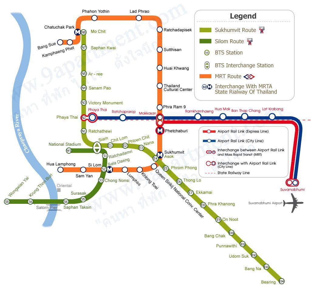 Cách xem bản đồ các tuyến tàu điện ở Bangkok