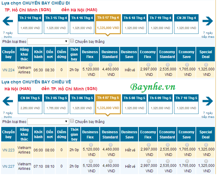Vietnam Airlines bán vé hạng Special Deal
