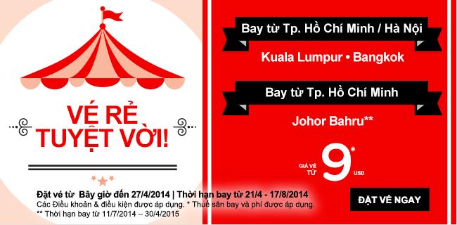 AirAsia tung khuyến mãi kép giá từ 4 USD