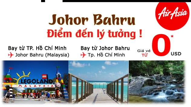AirAsia bán vé 0 USD chặng Sài Gòn - Johor Bharu