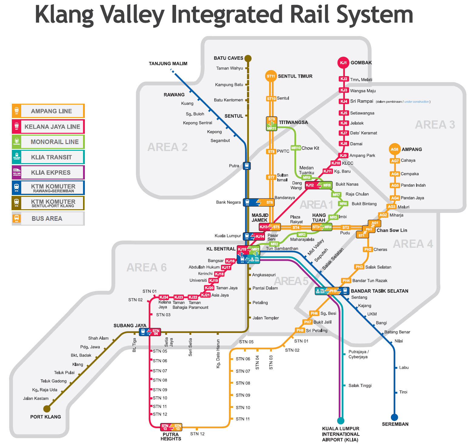 Bản đồ tàu điện ở Kuala Lumpur