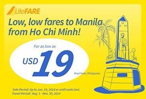 Cebu bán vé rẻ 19 USD mùa thu 2014