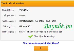 Hướng dẫn thanh toán vé VietJetAir qua Internet Banking của HDBank