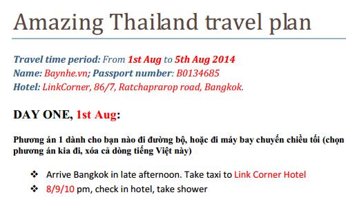 Bộ giấy tờ chuẩn bị để nhập cảnh Thái Lan