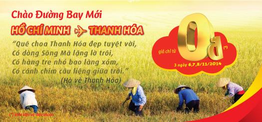 VietJet bán 2.000 vé máy bay Thanh Hoá giá 0 đồng