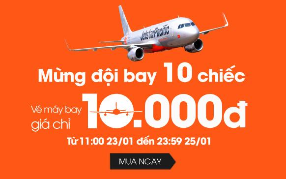 Jetstar bán vé siêu rẻ 10.000 đồng cho tất cả các chặng