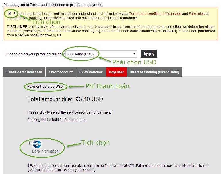 Hướng dẫn giữ vé AirAsia và thanh toán trong 24h