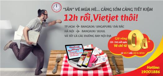 VietJetAir bán vé 0 đồng vào 12h trưa
