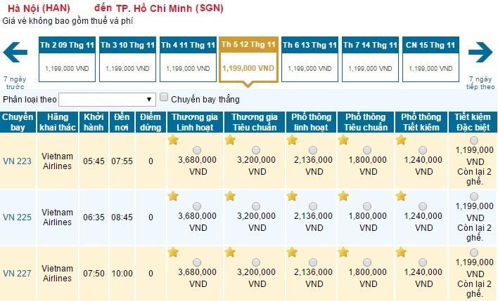 Giá vé Vietnam Airlines đã giảm 20%