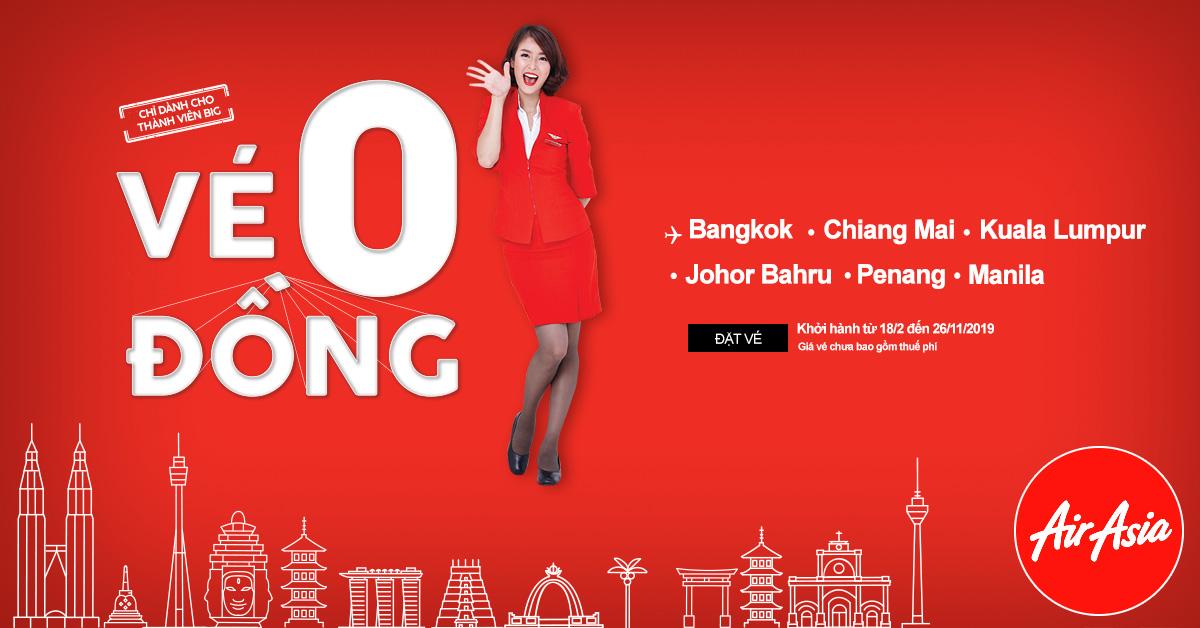 Tha hồ du lich với vé 0 đồng AirAsia