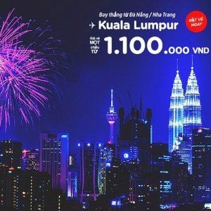 Đà Nẵng, Nha Trang bay đi Kuala Lumpur giá chỉ 1,1 triệu đồng