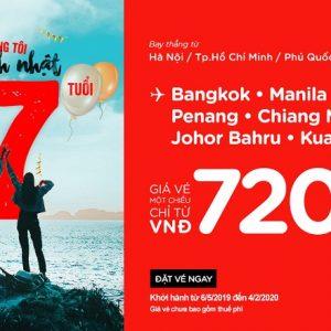 AirAsia sinh nhật 17 tuổi, bán vé rẻ nửa cuối năm 2019