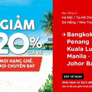 Airasia giảm 20% giá vé mọi chuyến bay, mọi hạng ghế
