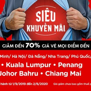 AirAsia siêu khuyến mãi giảm tới 70% giá vé