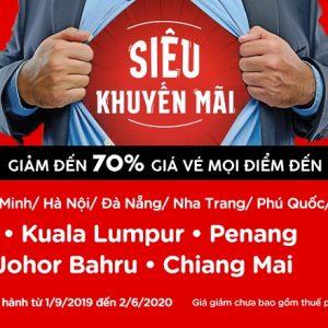 AirAsia siêu khuyến mãi giảm tới 70% giá vé